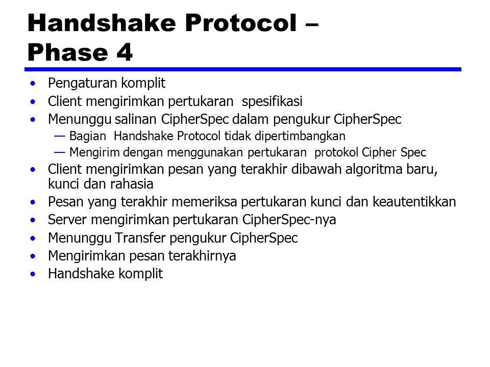 Handshake Protocol – Phase 4 Pengaturan komplit Client mengirimkan pertukaran spesifikasi Menunggu salinan CipherSpec dalam pengukur CipherSpec —Bagia