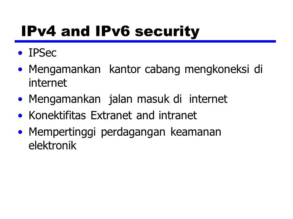 IPv4 and IPv6 security IPSec Mengamankan kantor cabang mengkoneksi di internet Mengamankan jalan masuk di internet Konektifitas Extranet and intranet