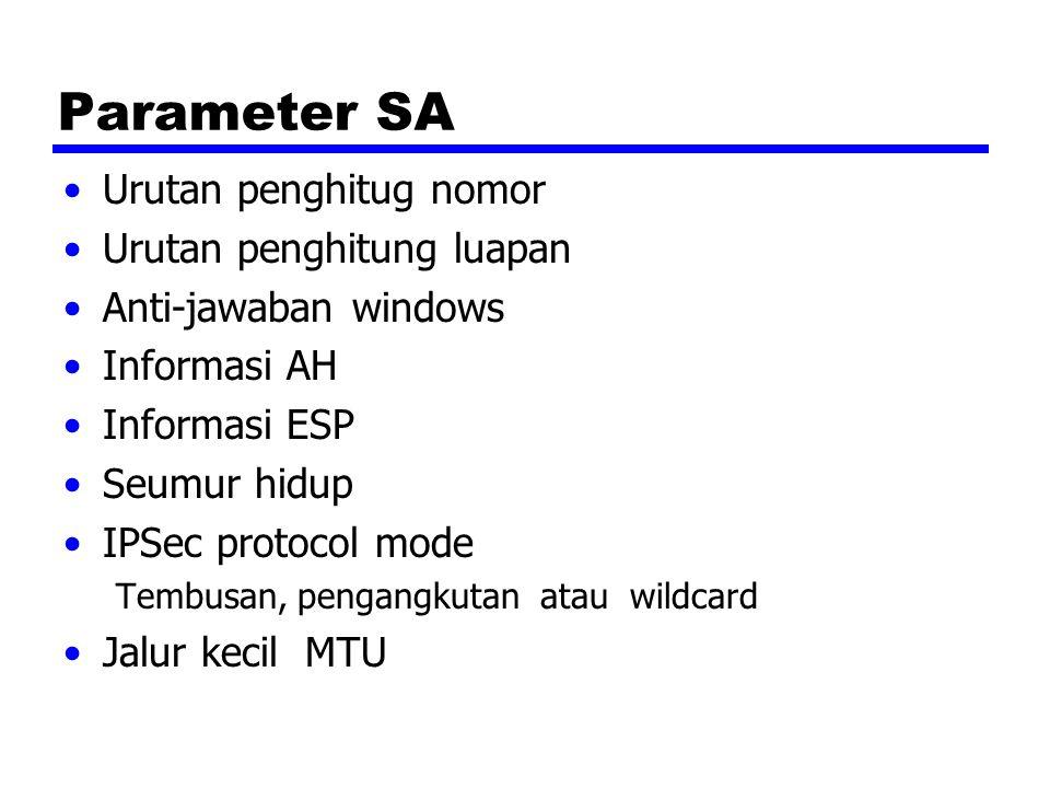 Parameter SA Urutan penghitug nomor Urutan penghitung luapan Anti-jawaban windows Informasi AH Informasi ESP Seumur hidup IPSec protocol mode Tembusan