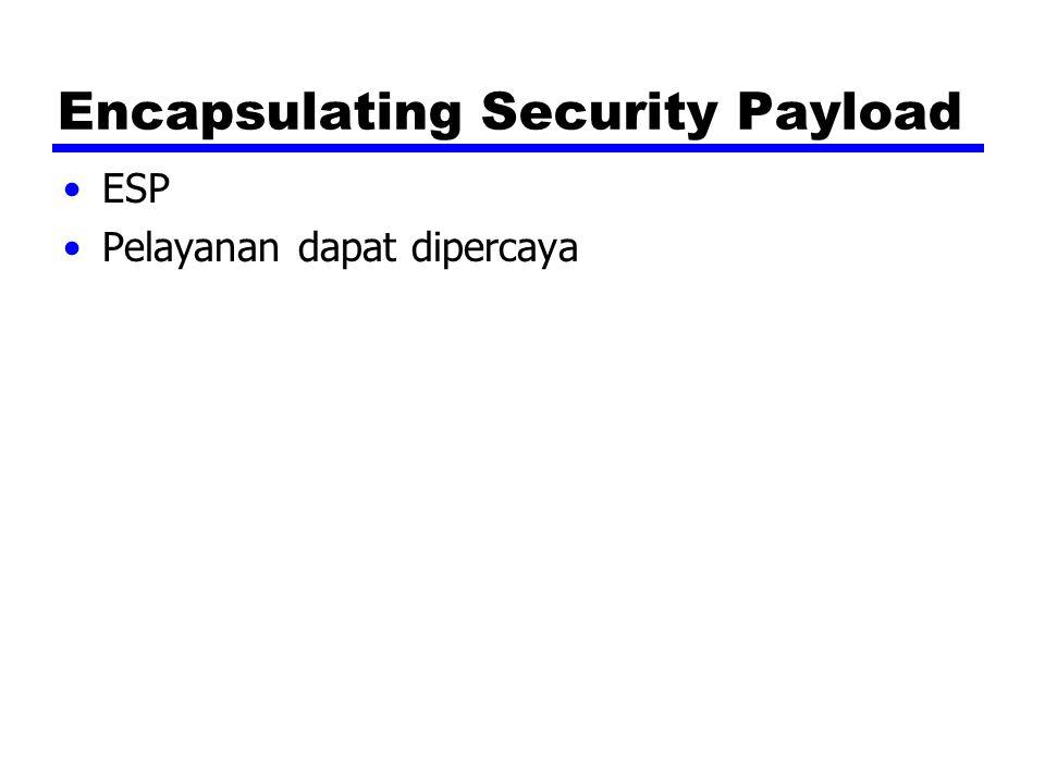 Encapsulating Security Payload ESP Pelayanan dapat dipercaya