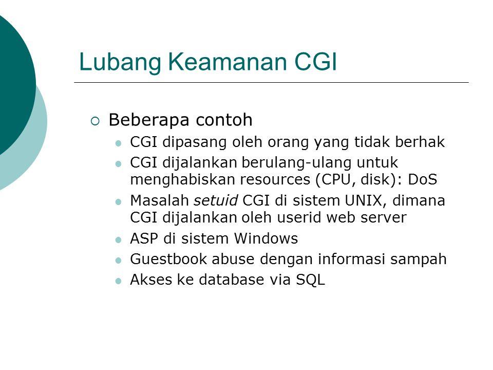 Lubang Keamanan CGI  Beberapa contoh CGI dipasang oleh orang yang tidak berhak CGI dijalankan berulang-ulang untuk menghabiskan resources (CPU, disk): DoS Masalah setuid CGI di sistem UNIX, dimana CGI dijalankan oleh userid web server ASP di sistem Windows Guestbook abuse dengan informasi sampah Akses ke database via SQL
