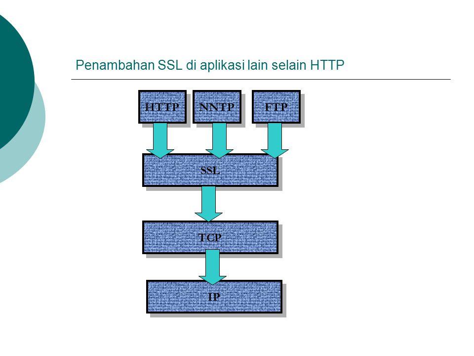 Penambahan SSL di aplikasi lain selain HTTP HTTP SSL TCP IP NNTP FTP