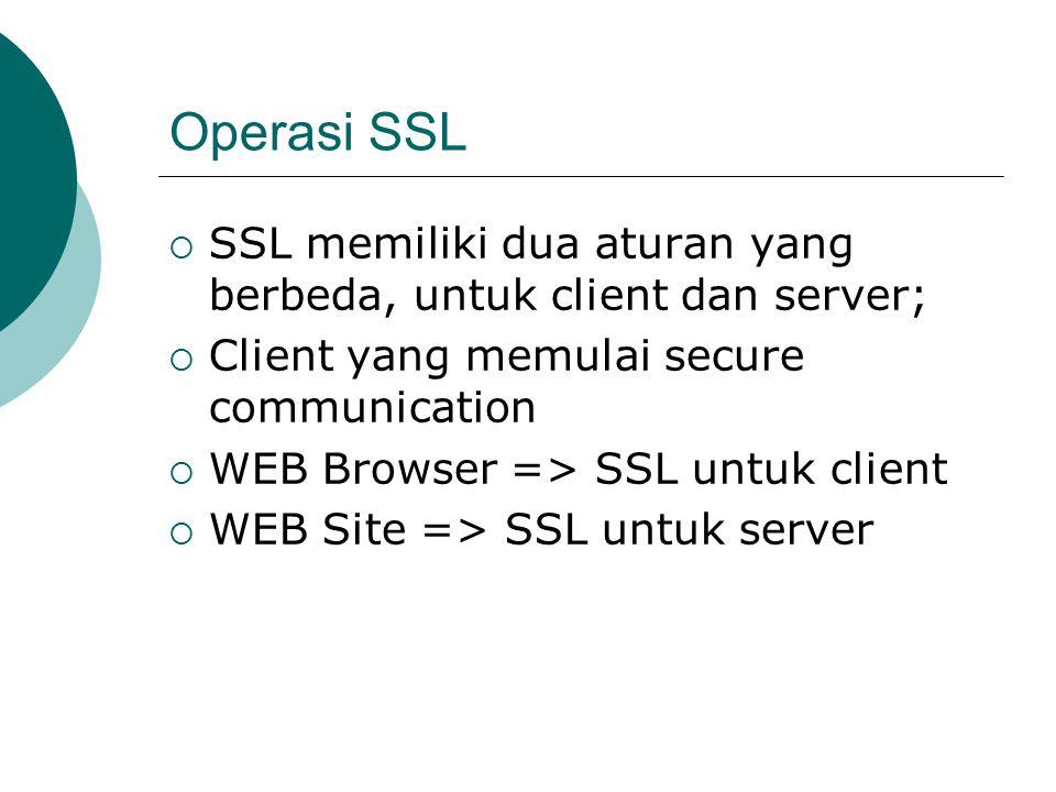 Operasi SSL  SSL memiliki dua aturan yang berbeda, untuk client dan server;  Client yang memulai secure communication  WEB Browser => SSL untuk client  WEB Site => SSL untuk server