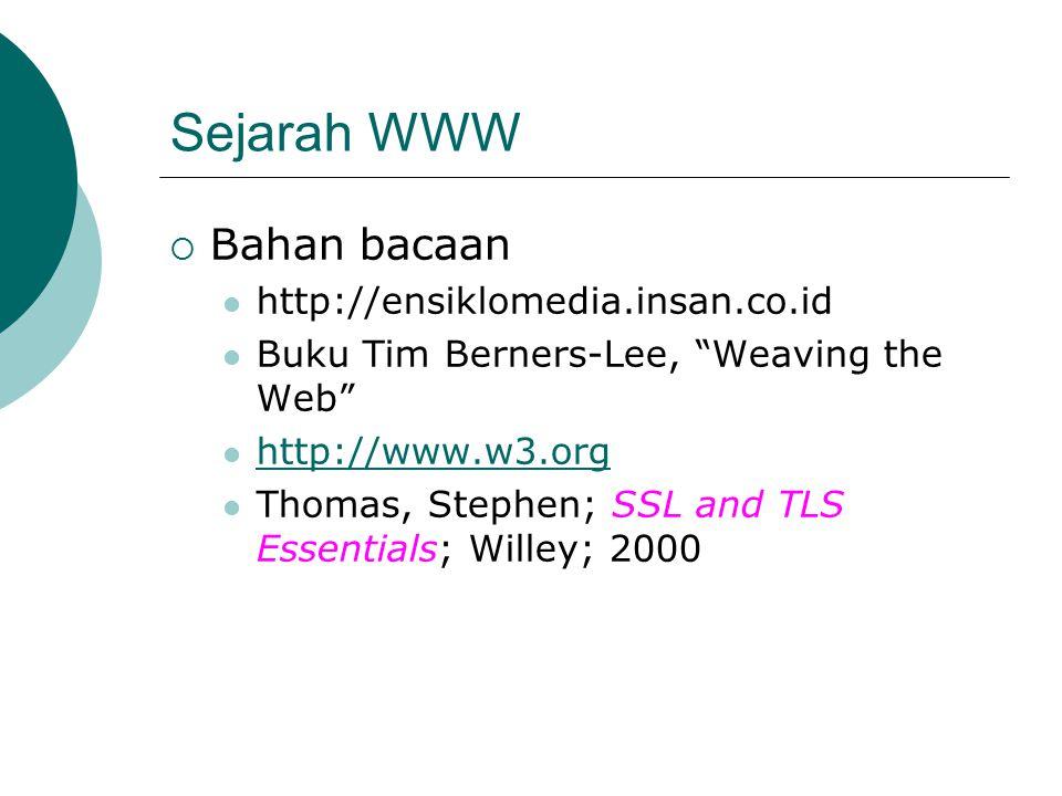 Sejarah WWW  Bahan bacaan http://ensiklomedia.insan.co.id Buku Tim Berners-Lee, Weaving the Web http://www.w3.org Thomas, Stephen; SSL and TLS Essentials; Willey; 2000