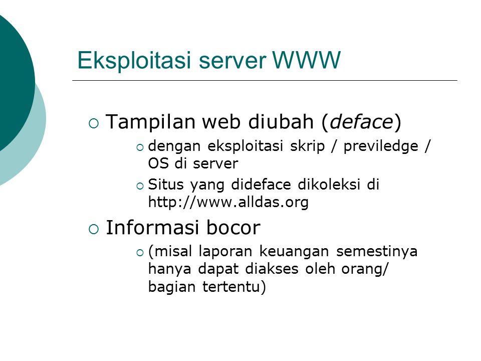 Eksploitasi server WWW  Tampilan web diubah (deface)  dengan eksploitasi skrip / previledge / OS di server  Situs yang dideface dikoleksi di http://www.alldas.org  Informasi bocor  (misal laporan keuangan semestinya hanya dapat diakses oleh orang/ bagian tertentu)