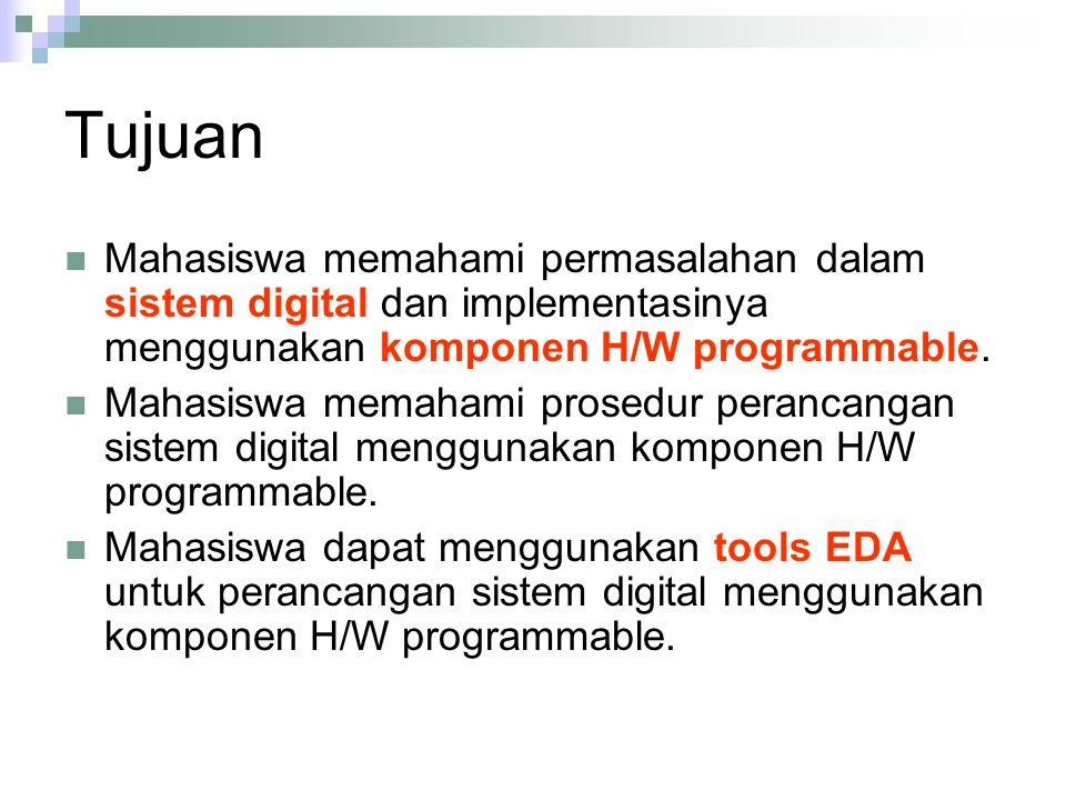 Tujuan Mahasiswa memahami permasalahan dalam sistem digital dan implementasinya menggunakan komponen H/W programmable. Mahasiswa memahami prosedur per