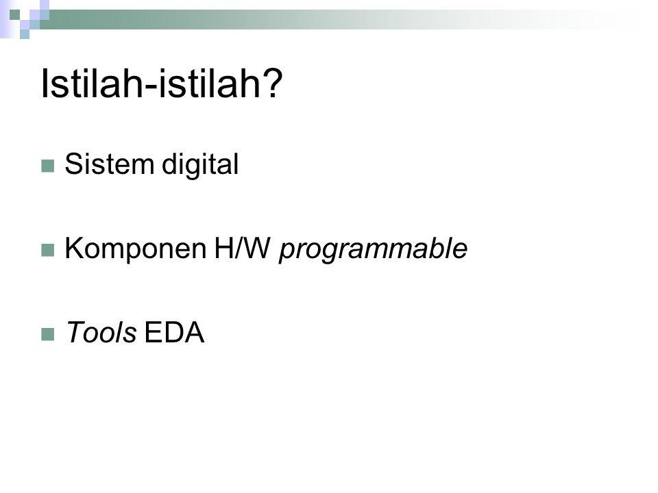 Istilah-istilah? Sistem digital Komponen H/W programmable Tools EDA