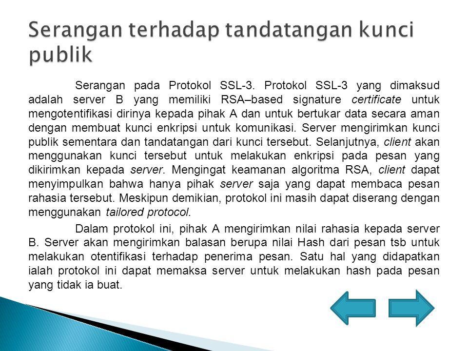 Serangan dengan Tailored Protocol, dimana Intruder menyamar sebagai pihak A, mengirimkan pesan kepada pihak B dengan menggunakan bentuk protokol yang bersesuaian.