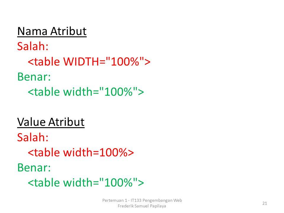 Nama Atribut Salah: Benar: Value Atribut Salah: Benar: 21 Pertemuan 1 - IT133 Pengembangan Web Frederik Samuel Papilaya