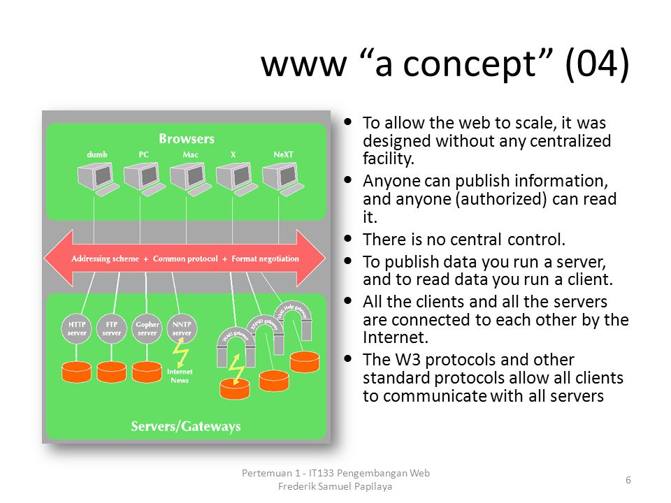 "www ""a concept"" (04) To allow the web to scale, it was designed without any centralized facility. Anyone can publish information, and anyone (authoriz"