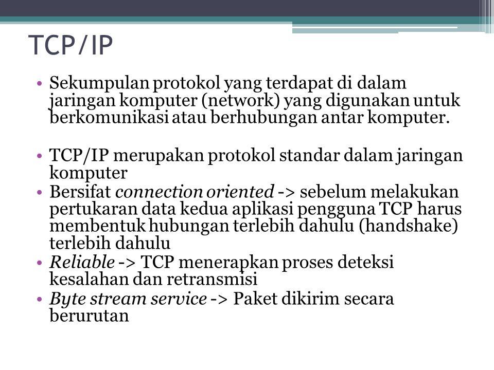 TCP/IP Sekumpulan protokol yang terdapat di dalam jaringan komputer (network) yang digunakan untuk berkomunikasi atau berhubungan antar komputer.