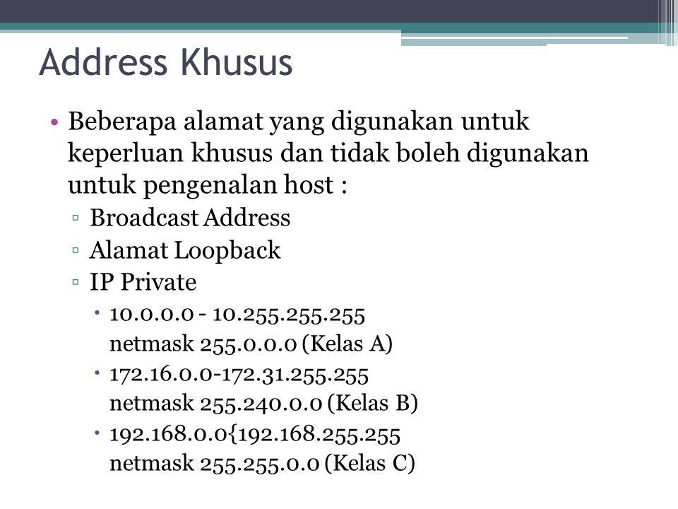 Address Khusus Beberapa alamat yang digunakan untuk keperluan khusus dan tidak boleh digunakan untuk pengenalan host : ▫Broadcast Address ▫Alamat Loopback ▫IP Private  10.0.0.0 - 10.255.255.255 netmask 255.0.0.0 (Kelas A)  172.16.0.0-172.31.255.255 netmask 255.240.0.0 (Kelas B)  192.168.0.0{192.168.255.255 netmask 255.255.0.0 (Kelas C)