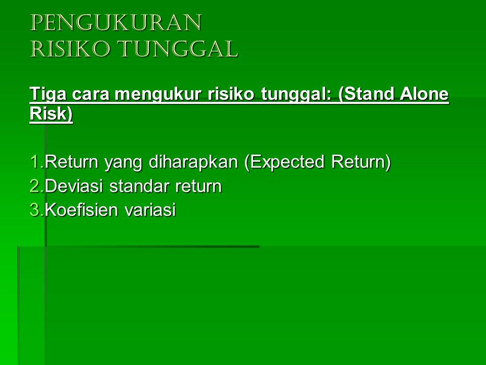 PENGUKURAN RISIKO TUNGGAL Tiga cara mengukur risiko tunggal: (Stand Alone Risk) 1.Return yang diharapkan (Expected Return) 2.Deviasi standar return 3.