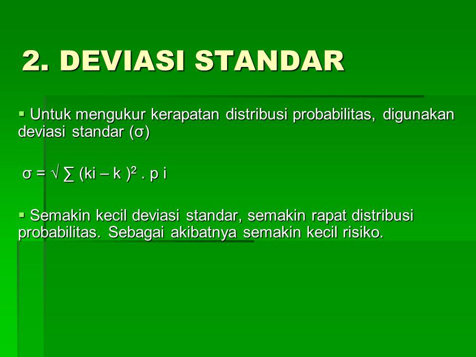 2. DEVIASI STANDAR  Untuk mengukur kerapatan distribusi probabilitas, digunakan deviasi standar (σ) σ = √ ∑ (ki – k ) 2. p i σ = √ ∑ (ki – k ) 2. p i