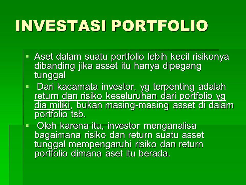INVESTASI PORTFOLIO  Aset dalam suatu portfolio lebih kecil risikonya dibanding jika asset itu hanya dipegang tunggal  Dari kacamata investor, yg te