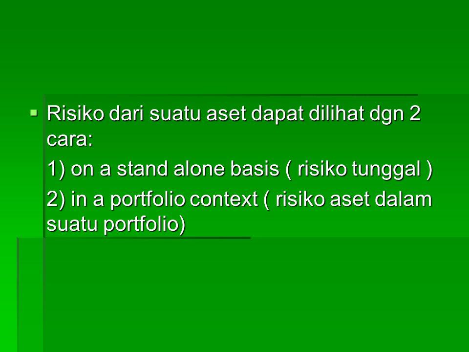  Risiko dari suatu aset dapat dilihat dgn 2 cara: 1) on a stand alone basis ( risiko tunggal ) 2) in a portfolio context ( risiko aset dalam suatu po