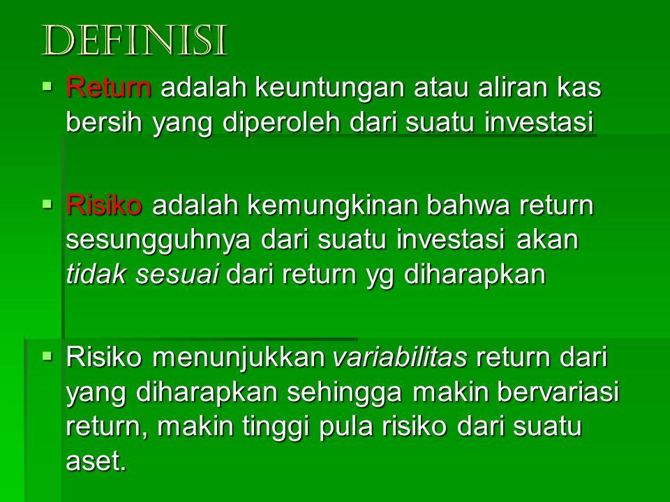 DEFINISI  Return adalah keuntungan atau aliran kas bersih yang diperoleh dari suatu investasi  Risiko adalah kemungkinan bahwa return sesungguhnya d