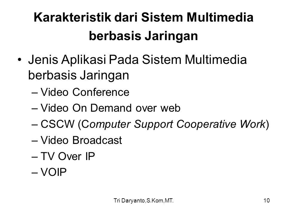 Tri Daryanto,S.Kom,MT.10 Karakteristik dari Sistem Multimedia berbasis Jaringan Jenis Aplikasi Pada Sistem Multimedia berbasis Jaringan –Video Confere