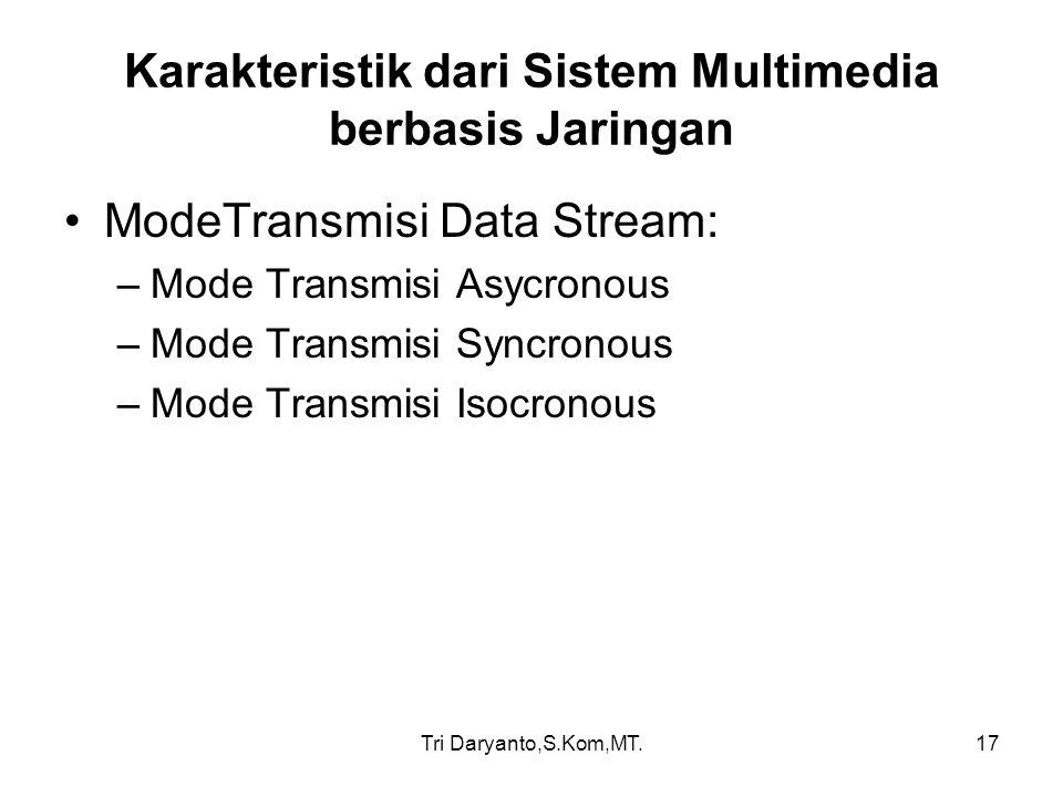 Tri Daryanto,S.Kom,MT.17 Karakteristik dari Sistem Multimedia berbasis Jaringan ModeTransmisi Data Stream: –Mode Transmisi Asycronous –Mode Transmisi