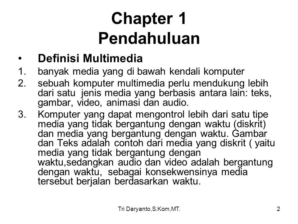 Tri Daryanto,S.Kom,MT.2 Chapter 1 Pendahuluan Definisi Multimedia 1.banyak media yang di bawah kendali komputer 2.sebuah komputer multimedia perlu men