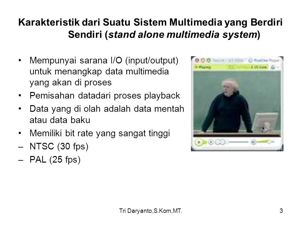 Tri Daryanto,S.Kom,MT.4 Karakteristik dari Suatu Sistem Multimedia yang Berdiri Sendiri (stand alone multimedia system) Data Video secara harfiah data video adalah susunan gambar yang berurutan berdasarkan waktu.
