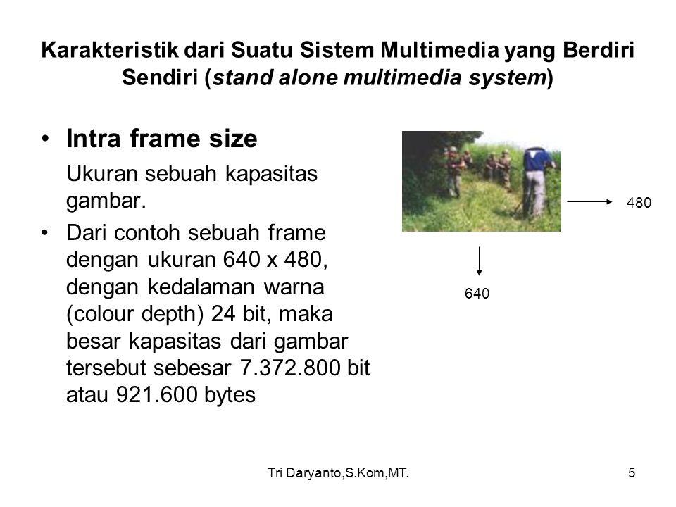 Tri Daryanto,S.Kom,MT.6 Karakteristik dari Suatu Sistem Multimedia yang Berdiri Sendiri (stand alone multimedia system) Inter frame size ukuran dari sebuah full motion dalam satuan waktu, dimana frame ratenya bergantung dari bit rate yang digunakan apakah dengan NTSC atau PAL jika menggunakan PAL maka ukuran kapasitas video dengan ukuran 640 x 480, 24 bit dalam wtk 1 detik memiliki kapsitas 23.040.000 bytes, atau 21,.97 Mbytes 1 detik