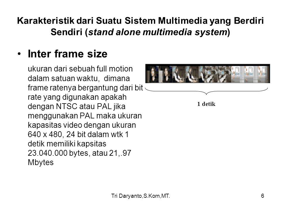 Tri Daryanto,S.Kom,MT.7 Karakteristik dari Suatu Sistem Multimedia yang Berdiri Sendiri (stand alone multimedia system) Dikarenakan data original tersebut sangat besar maka dilakukan proses pemampatan data atau yang disebut Kompresi.