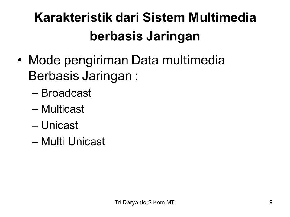 Tri Daryanto,S.Kom,MT.9 Karakteristik dari Sistem Multimedia berbasis Jaringan Mode pengiriman Data multimedia Berbasis Jaringan : –Broadcast –Multica