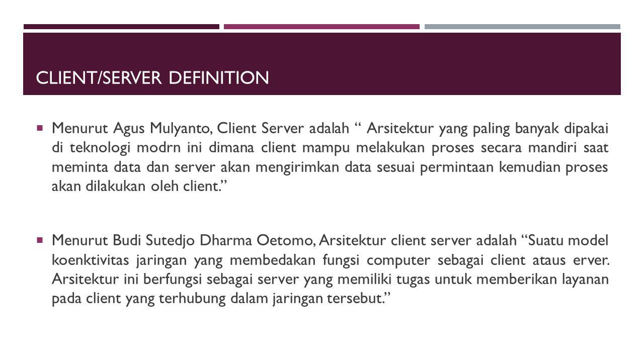 """CLIENT/SERVER DEFINITION  Menurut Agus Mulyanto, Client Server adalah """" Arsitektur yang paling banyak dipakai di teknologi modrn ini dimana client ma"""