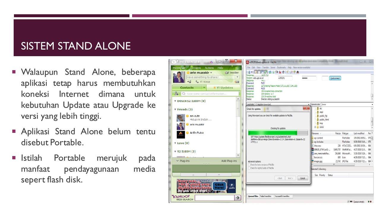 SISTEM STAND ALONE  Walaupun Stand Alone, beberapa aplikasi tetap harus membutuhkan koneksi Internet dimana untuk kebutuhan Update atau Upgrade ke ve