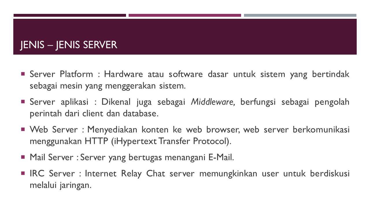 JENIS – JENIS SERVER LAINNYA  Server Audio/Video  Chat Server  Fax Server  FTP Server  Groupware Server  List Server  News Server  Proxy Server  Telnet Server  Virtual Server