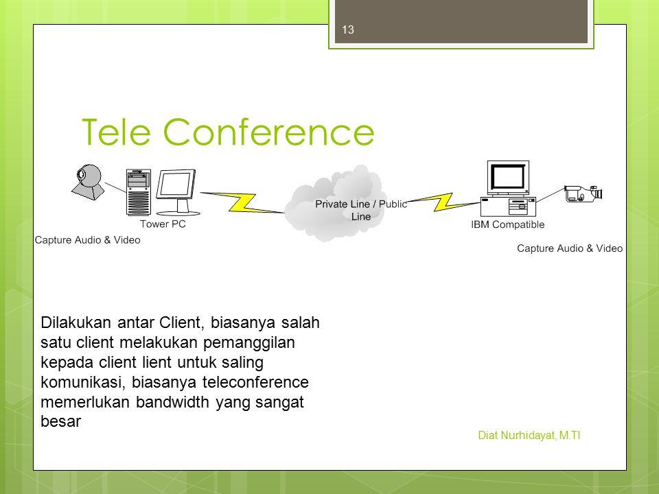 Tele Conference Diat Nurhidayat, M.TI 13 Dilakukan antar Client, biasanya salah satu client melakukan pemanggilan kepada client lient untuk saling kom