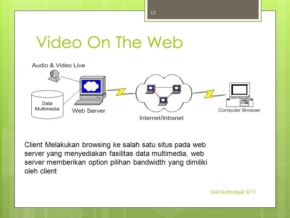 Video On The Web Diat Nurhidayat, M.TI 17 Client Melakukan browsing ke salah satu situs pada web server yang menyediakan fasilitas data multimedia, we