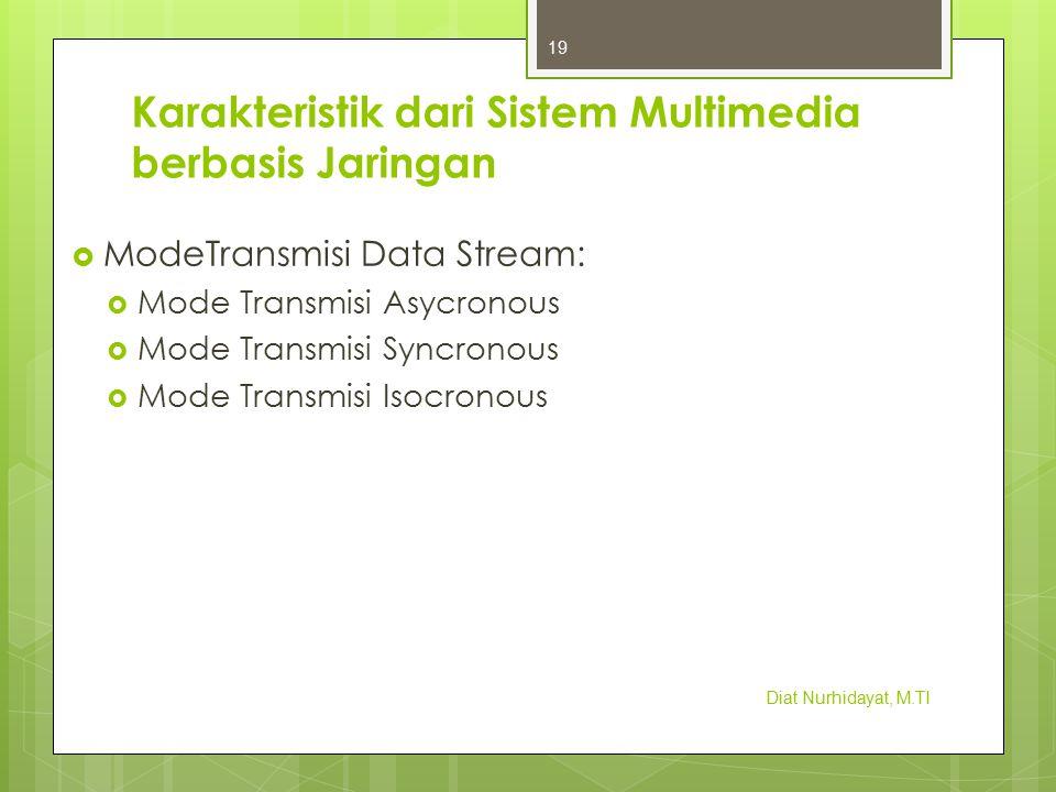 Karakteristik dari Sistem Multimedia berbasis Jaringan  ModeTransmisi Data Stream:  Mode Transmisi Asycronous  Mode Transmisi Syncronous  Mode Tra