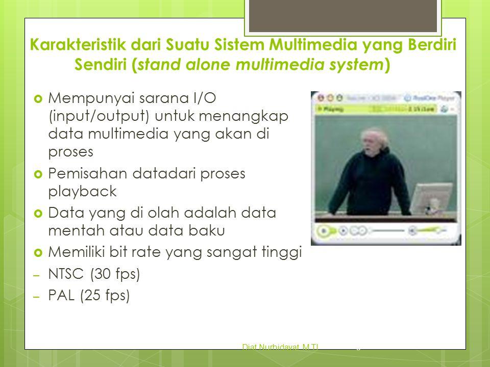Karakteristik dari Suatu Sistem Multimedia yang Berdiri Sendiri ( stand alone multimedia system )  Data Video secara harfiah data video adalah susunan gambar yang berurutan berdasarkan waktu.
