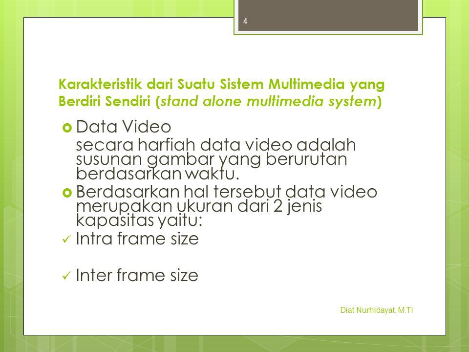 Karakteristik dari Suatu Sistem Multimedia yang Berdiri Sendiri ( stand alone multimedia system )  Data Video secara harfiah data video adalah susuna