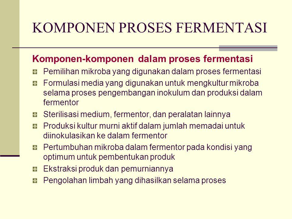 KOMPONEN PROSES FERMENTASI Komponen-komponen dalam proses fermentasi Pemilihan mikroba yang digunakan dalam proses fermentasi Formulasi media yang dig