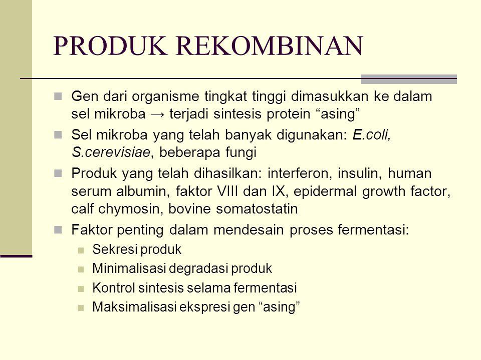 """PRODUK REKOMBINAN Gen dari organisme tingkat tinggi dimasukkan ke dalam sel mikroba → terjadi sintesis protein """"asing"""" Sel mikroba yang telah banyak d"""