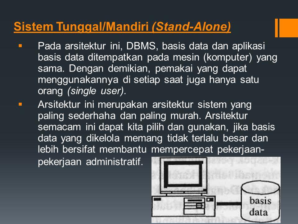 Sistem Tunggal/Mandiri (Stand-Alone)  Pada arsitektur ini, DBMS, basis data dan aplikasi basis data ditempatkan pada mesin (komputer) yang sama. Deng