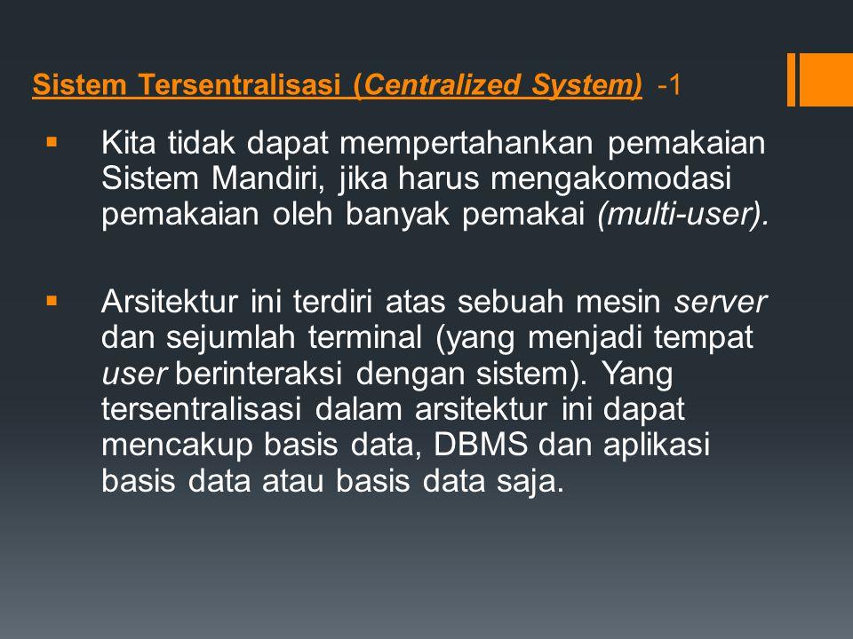 Sistem Tersentralisasi (Centralized System) -1  Kita tidak dapat mempertahankan pemakaian Sistem Mandiri, jika harus mengakomodasi pemakaian oleh ban
