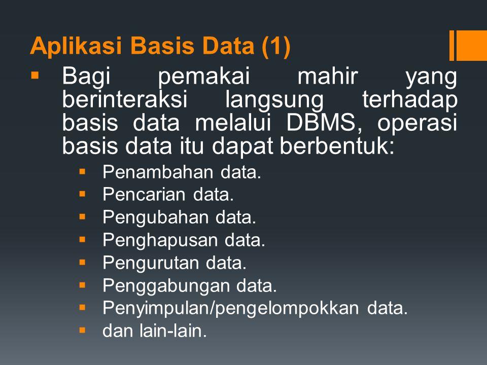 Aplikasi Basis Data (1)  Bagi pemakai mahir yang berinteraksi langsung terhadap basis data melalui DBMS, operasi basis data itu dapat berbentuk:  Pe