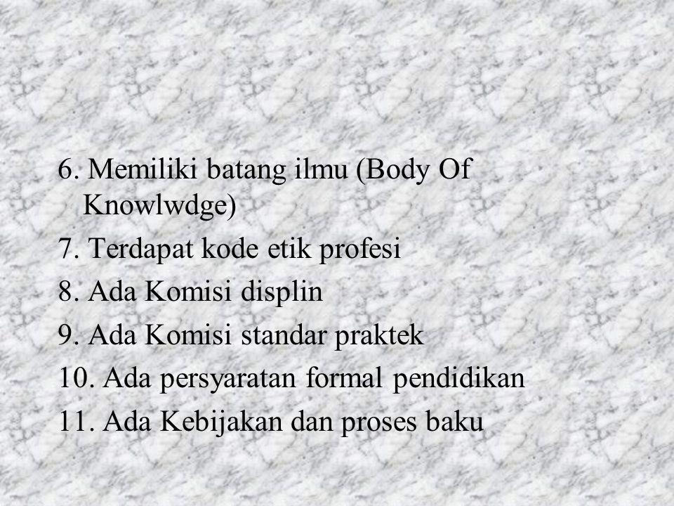 6. Memiliki batang ilmu (Body Of Knowlwdge) 7. Terdapat kode etik profesi 8. Ada Komisi displin 9. Ada Komisi standar praktek 10. Ada persyaratan form
