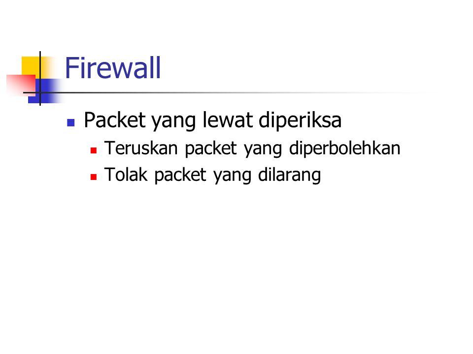 Firewall Packet yang lewat diperiksa Teruskan packet yang diperbolehkan Tolak packet yang dilarang