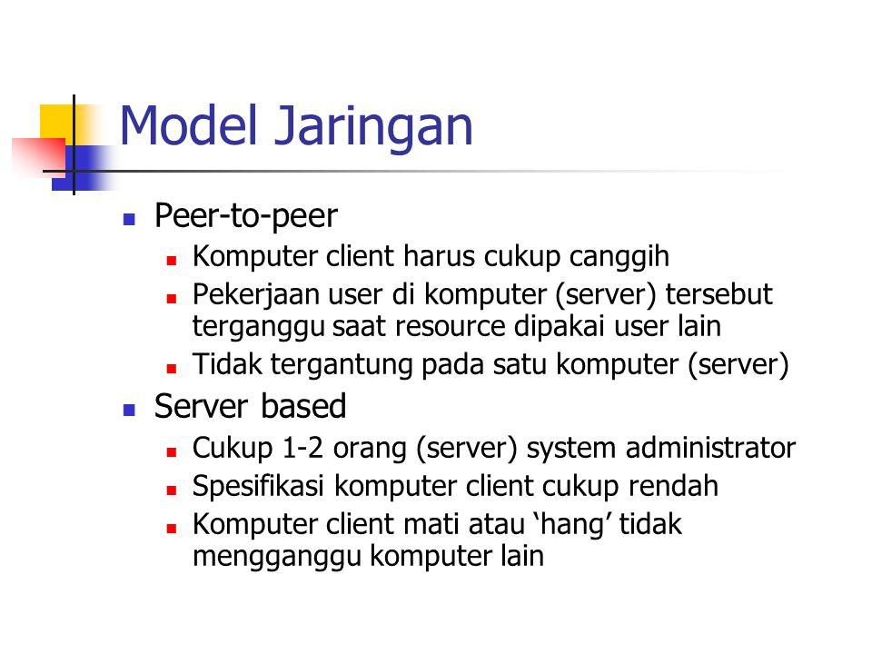 Model Jaringan Peer-to-peer Komputer client harus cukup canggih Pekerjaan user di komputer (server) tersebut terganggu saat resource dipakai user lain