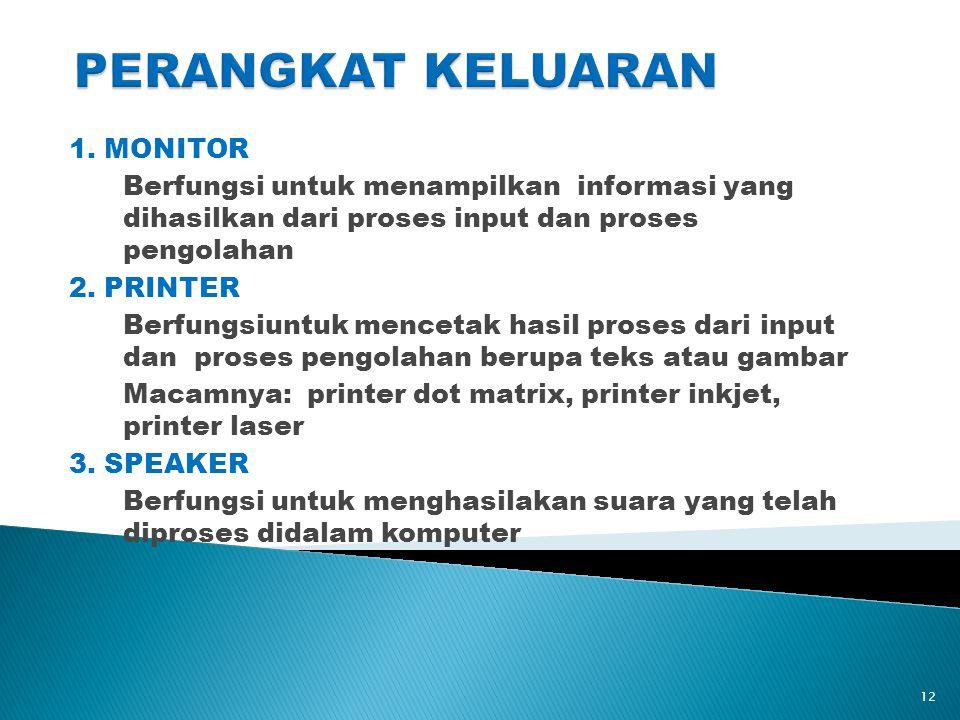 1. MONITOR Berfungsi untuk menampilkan informasi yang dihasilkan dari proses input dan proses pengolahan 2. PRINTER Berfungsiuntuk mencetak hasil pros