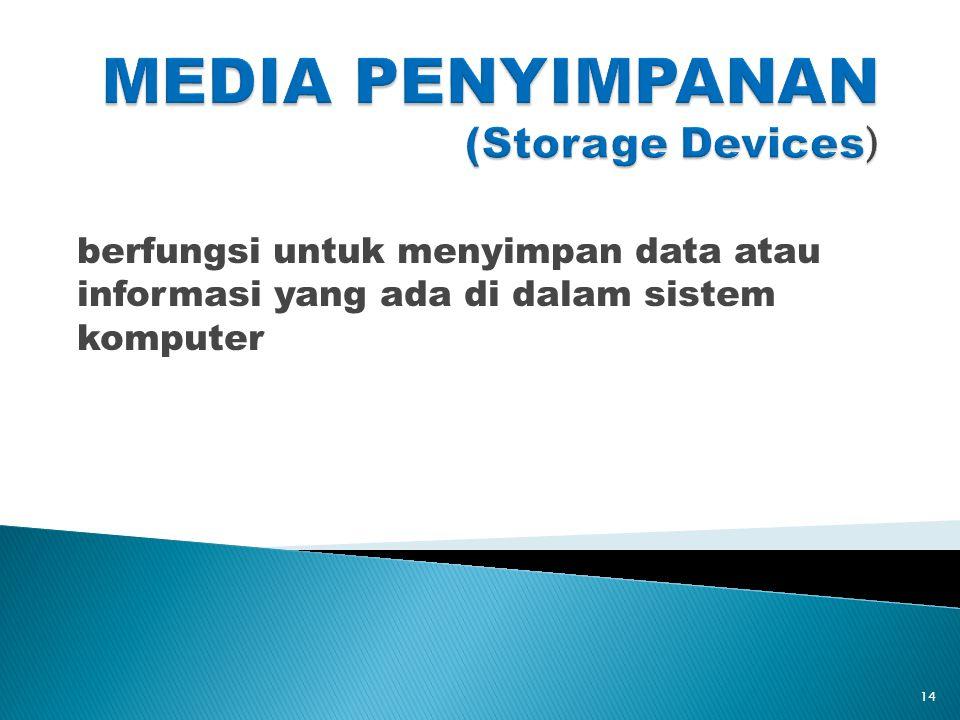 berfungsi untuk menyimpan data atau informasi yang ada di dalam sistem komputer 14