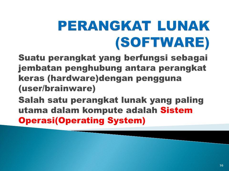 Suatu perangkat yang berfungsi sebagai jembatan penghubung antara perangkat keras (hardware)dengan pengguna (user/brainware) Salah satu perangkat lunak yang paling utama dalam kompute adalah Sistem Operasi(Operating System) 16