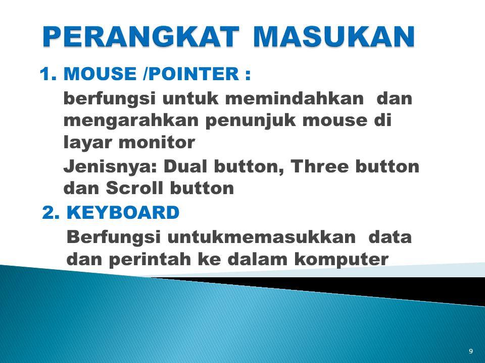 1. MOUSE /POINTER : berfungsi untuk memindahkan dan mengarahkan penunjuk mouse di layar monitor Jenisnya: Dual button, Three button dan Scroll button