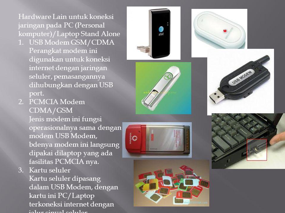 Hardware Lain untuk koneksi jaringan pada PC (Personal komputer)/Laptop Stand Alone 1.USB Modem GSM/CDMA Perangkat modem ini digunakan untuk koneksi i