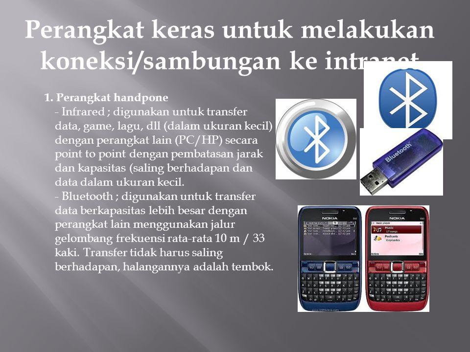 1. Perangkat handpone - Infrared ; digunakan untuk transfer data, game, lagu, dll (dalam ukuran kecil) dengan perangkat lain (PC/HP) secara point to p